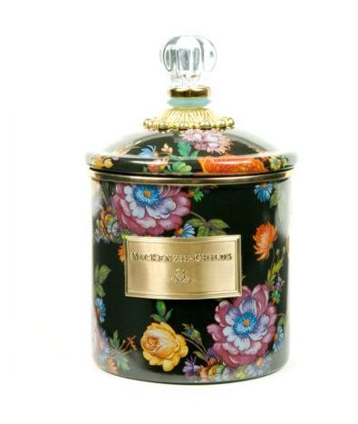 MacKenzie-Childs Flower Market Small Enamel Canister - Black