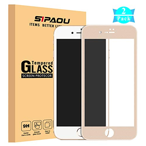 [2 Pack] iPhone 7 Plus/ 8 Plus Screen Protector, SIPAOU 3D Full Coverage Tempered Glass Screen Protector Film [Edge to Edge Protection] with Soft Frame for iPhone 7 Plus/8 Plus (5.5 Gold)