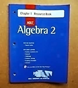 Algebra 2 Chapter 1 Resource Book by McDougal Littel