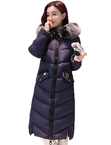 De Poliéster Woman Azul Manga Cálido Abrigo Larga Chaqueta Invierno Bigood Con Capucha 1wtqqCF
