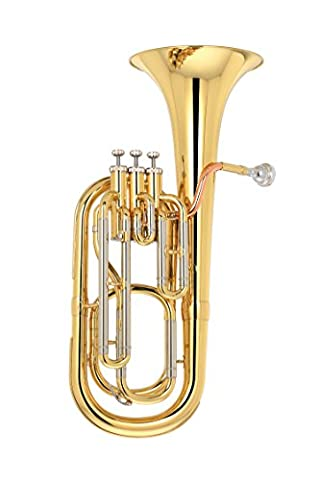Kaizer Baritone Horn 2000 Series Standard B Flat Bb in Gold Lacquer Finish Include Accessories Student Band Orchestra Musician - Bb Tuba