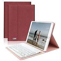iPad Keyboard Case 9.7 for New iPad 2018 (6th Gen) - iPad Pro 2017 (5th Gen) - iPad Air 2/1 - COO Detachable Wireless Bluetooth Keyboard - Magnetic Auto Sleep/Wake (Red with White Keyboard)