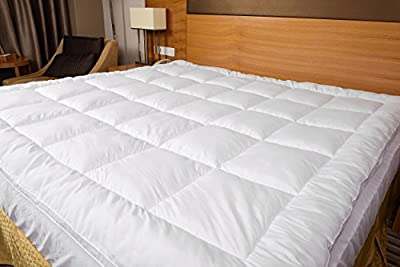 #1 Hypoallergenic Microplush Mattress Pad   Box-Stitched with Overfilling for Extra Comfort   Breathable Material to Prevent Overheating