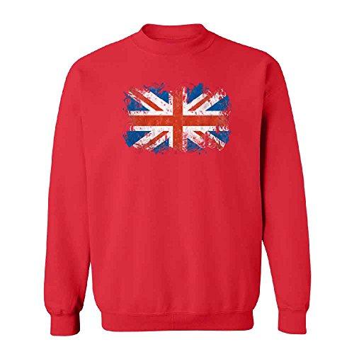 (Atilt Distressed British Flag Unisex Crewneck Patriotic Union Jack Sweater Red XX-Large)