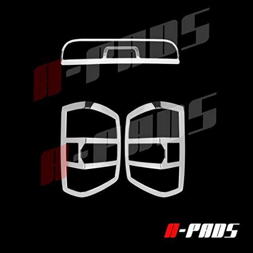 A-PADS for 2014 15 16 2017 Chevy Silverado Chrome Cover Tail Light Bezel+3rd Third Brake Light Cover