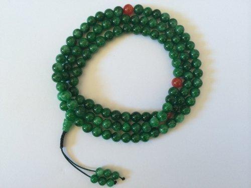 Tibetan Mala Green Jade Mala with Carnelian Spacer for Meditation