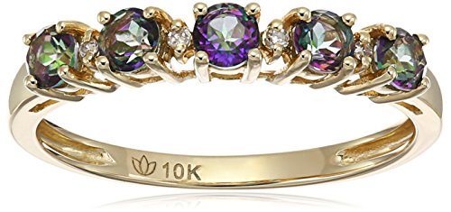10k Yellow Gold Mystic Topaz and Diamond Accented Stackable Ring, Size 7