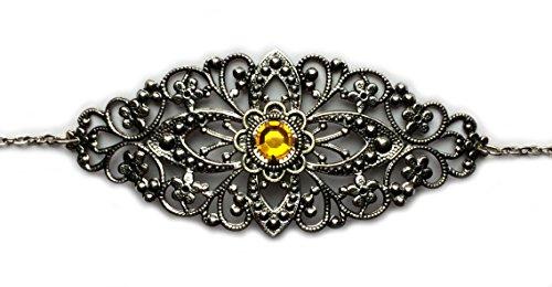 Moon Maiden Jewelry Gothic Victorian Headpiece w/Amber/Topaz -