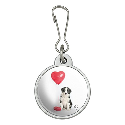 Border Collie Dog Heart Valentines Love Jacket Handbag Purse Luggage Backpack Zipper Pull Charm