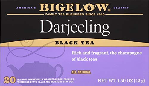 Bigelow Darjeeling Blend Tea 20-Count Boxes (Pack of 6) Caffeinated Individual Black Tea Bags, for Hot Tea or Iced Tea, Drink Plain or Sweetened with Honey or - Tea Champagne