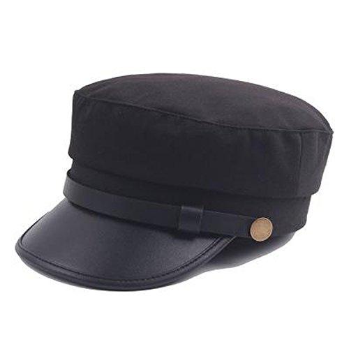 Incrediblegifts Cook Military Cap Hat Female Winter Hats for Women Men Ladies Army Military Hat Pu Leather Visor Black Cap Sailor Hat Bone (Leather Winter Hat)