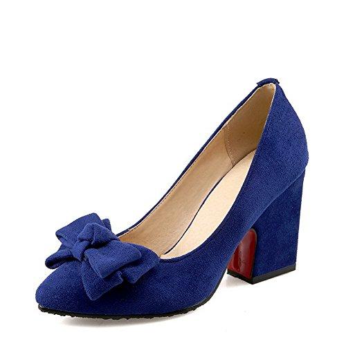 VogueZone009 Damen Mattglasbirne Spitz Zehe Hoher Absatz Ziehen auf Rein Pumps Schuhe Blau