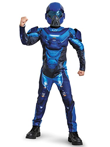 Blue Spartan Classic Muscle Halo Microsoft Costume, Medium/7-8