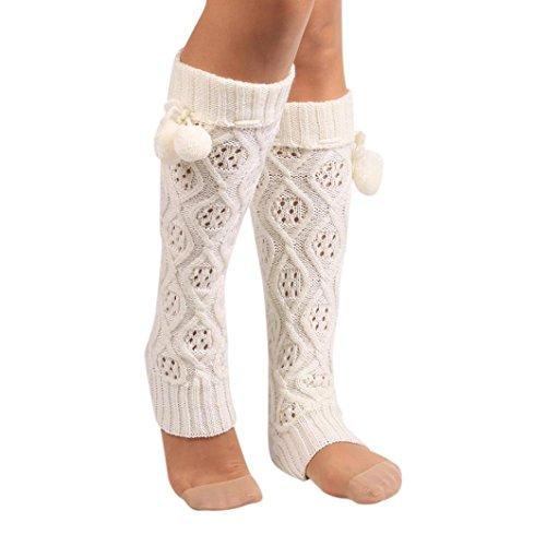 Womens White Box Quilted Jacket - Socks Women, Liraly Winter Warm Knitted Socks Leg Warmers Boot Crochet Long (White)