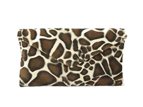 Loni Womens Neat Envelope Animal Print Faux Fur Clutch Bag/Shoulder Bag in -