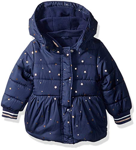 Nautica Baby Girls Printed Puffer Coat with Removable Hood, Navy, 18 Months