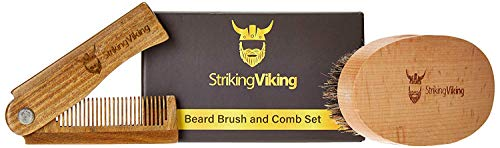 Beard Brush and Comb Set by Striking Viking - Wooden Boar Bristle Brush and Folding Beard Comb for Men w/Gift Box - Detangle and Style Beard Hair and Mustache - Use Dry or with Balms and Oils ()