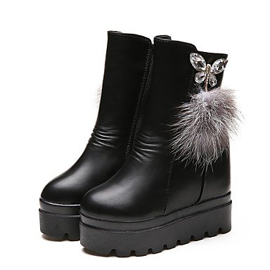 Party Round Boots Pu RTRY Casual Winter US7 Heel Wedge EU38 5 Shoes CN38 amp;Amp; For 5 Evening UK5 Toe Women'S Fashion Boots Black qEXzwO