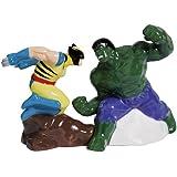 Westland Giftware The Incredible Hulk Vs Wolverine Salt and Pepper Shakers