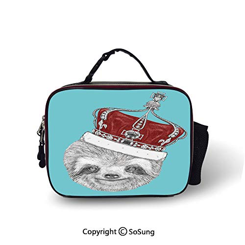 (Sloth Leakproof Reusable Insulated Cooler Lunch Bag Cute Hand Drawn Animal with Imperial Ancient Crown King of Laziness Theme Decorative Picnic Hiking Beach Lunch bag,10.6x8.3x3.5 inch,Aqua Burgundy G)