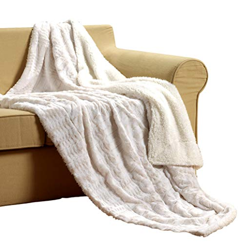 Tache White Ivory Super Soft Warm Polar Faux Fur with Sherpa Throw Blanket 50