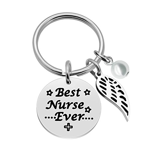 Nurse Gifts for Women Key Chain Pearl Wings Stainless Steel - Best Nurse Ever Nightingale Nurse's Day