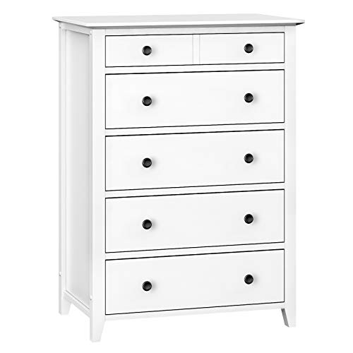 VASAGLE Chest of Drawers, 5-Drawer Dresser with Solid Wood Frame, Storage Unit for The Bedroom, Living Room, Kid
