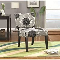 Janes Gallerie White & Black Woven Floral Accent Chair (#902050)