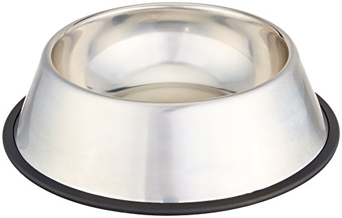 AmazonBasics Stainless Steel Pet Dog Water And Food Bowl - 11 x 3 Inches (For Bowls Dogs Water Outdoor)