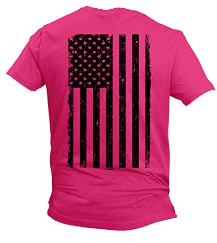 United States Military Marines T-shirt - Distressed Black USA Flag - United States Men's T-Shirt (Pink - Back Print, X-Large)