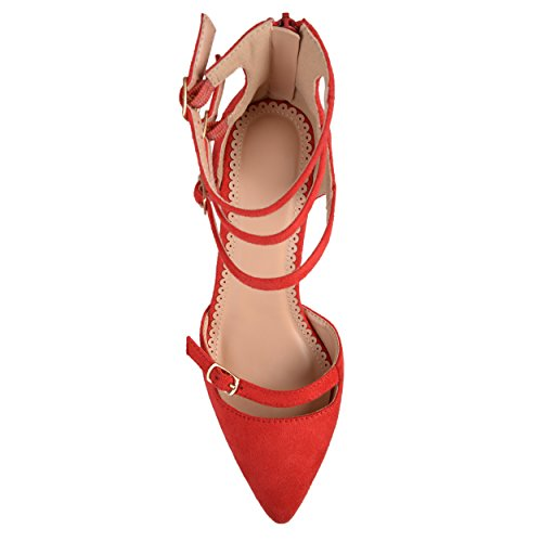 Heels High Red Faux Co Toe Multi Pointed Womens Brinley Suede Strap zHgURqx7
