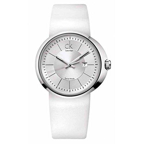 Calvin Klein Quartz, White Leather Strap with White Dial - Women's Watch (Calvin Klein Womens White Dial)