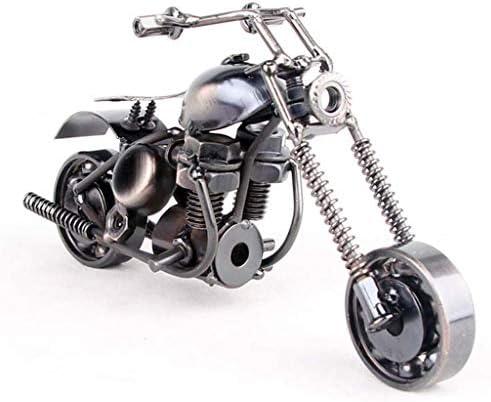 金属オートバイモデル ホーム鍛造鉄オートバイ ホームソフト装飾 オフィス小さなおもちゃ、最高の贈り物 (Color : Brass, Size : 16*7*8cm)