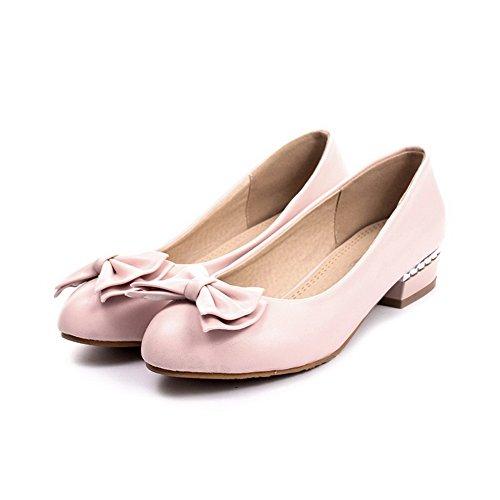 BalaMasa da donna massiccio low-heels tomaia in pelle pumps-shoes, Rosa (Pink), 35