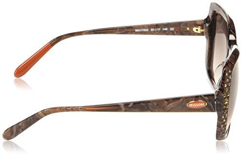 Missoni - Lunette de soleil MI817S Rectangulaire  - Femme Brown marble frame/gradient brown lens