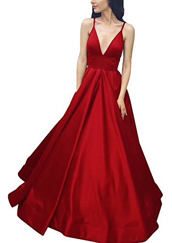 (Yangprom Long Spaghetti Straps Ball Gown Satin Prom Dresses with Pockets 6, Red)