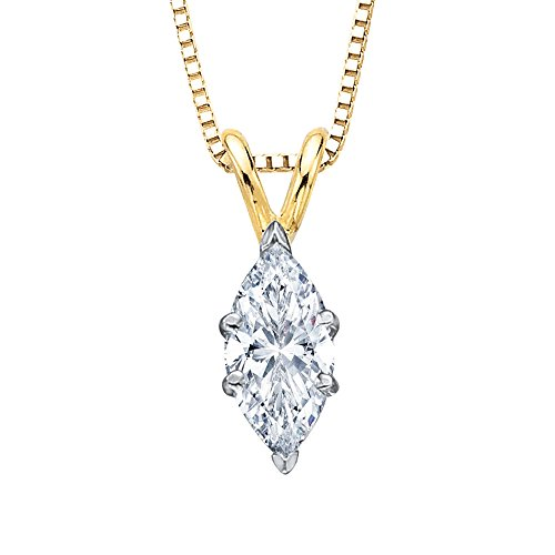 GIA Certified 0.51 ct. E - SI1 Marquise Cut Diamond Solitaire Pendant Necklace in 14K Yellow Gold
