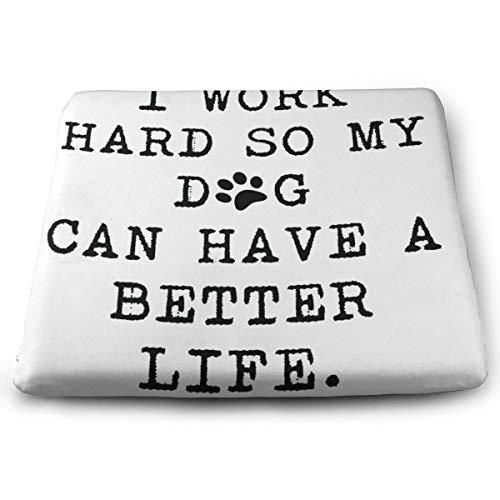 OIu3Byf Funny Mug 11OZ - I Work Hard So My Dog Indoor/Outdoor Square Seat Cushion