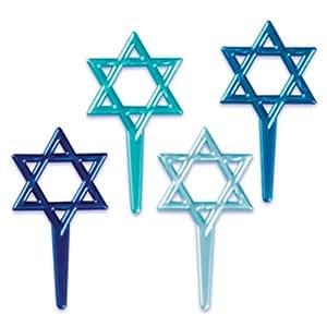 Dress My Cupcake DMC41HAN-800 12-Pack Star of David Pick Decorative Cake Topper, Hanukkah/Bar Mitzvah, Assorted Blue