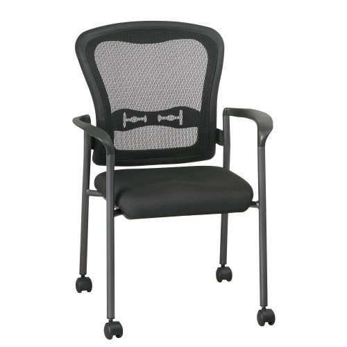 Pro-Line II 84540-30 Titanium Finish Visitors Chair with Arms, Casters and Breathable Mesh ProGrid (Back Visitors Chair)