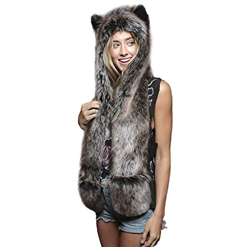 HORHIN Women 3 in 1 Multi-Functional Faux Fur Animal Hat ddeb50f314f