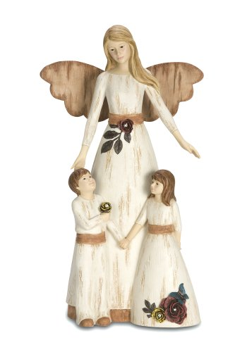 Pavilion Gift Company Simple Spirits 41012 Angel Figurine and Children, 11-Inch, Guardian