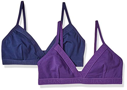 Hanes Ultimate Women's Casual Comfort Logo Wirefree Triangle Bra 2-Pack,  Coil Blue/Crocus, Large (Triangle Bra Multi Clothing)