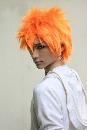 Cf-fashion Bleach Kurosaki Ichigo Costume Short Orange Party Cosplay Wig