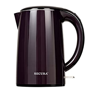 Secura 1.8 Quart Stainless Steel Electric Water Kettle Double Wall Cool Touch Exterior Dark Purple