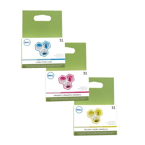 Dell Series 31 Ink Cartridges in Retail Packaging (1 Cyan, 1 Magenta, 1 Yellow)