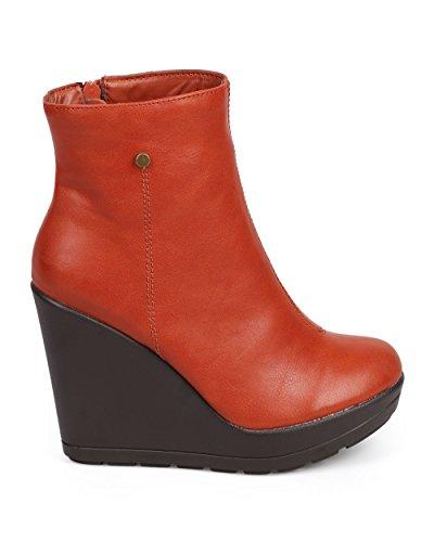 Breckelles DC61 Women Leatherette Tailored Platform Zip Wedge Bootie - Coral IA5DUP8e