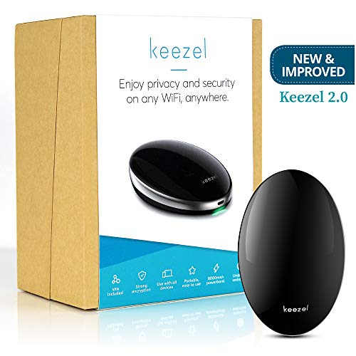 (New Keezel 2.0 VPN Portable Router | Built-in Firewall for Wireless Internet Connection | VPN Router That Creates Online Security and Privacy on Any Wi-Fi Network | Travel Power Bank Included)