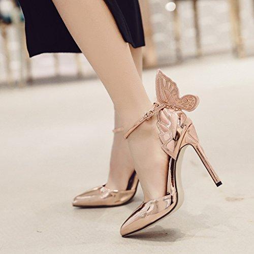 americana da e Champagne Champagne tacchi di Colore ALUK ali donna 39 scarpe Moda a europea dimensioni sandali long245mm punta sexy alti farfalla Scarpe Shoes UfwgU5qXY