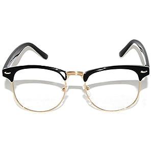 Retro Fashion Clear Lens Sunglasses Black-Gold Metal Half Frame
